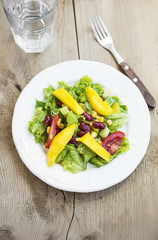 Mango Salad with Red Beans ,Lettuce and Tomatoes