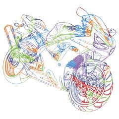 Esquisse multicolore d'une moto