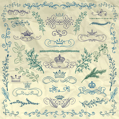 Vector Floral Design Elements, Crowns on Crumpled Paper