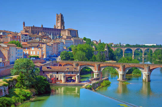 View of the August bridge and Saint Cecile church in Albi, France