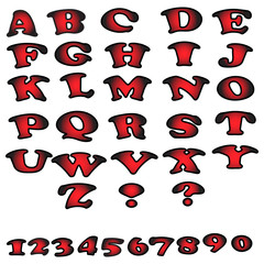 Set of colorful alphabet and numbers.