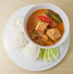 Delicious Vegan Red Curry with Rice Vermicelli