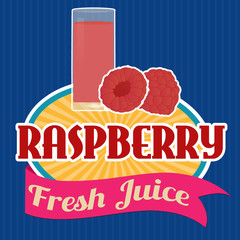 Raspberry juice sticker or label