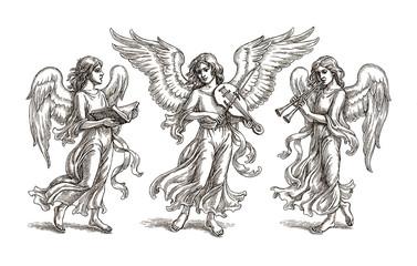 Три ангела, рисунок тушью.