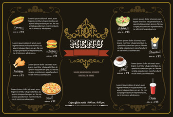 Restaurant Fast Foods menu on brown background vector format eps