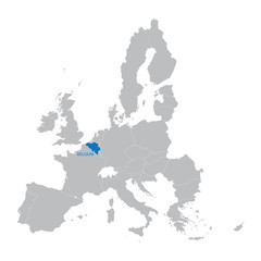 European Union Map with indication of Belgium