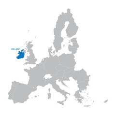 map of European Union with indication of Ireland