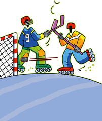 personnage fun, hockey, roller