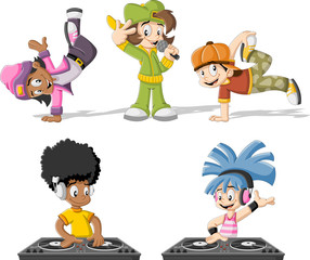 Cartoon hip hop dancers with a singer and a dj playing music