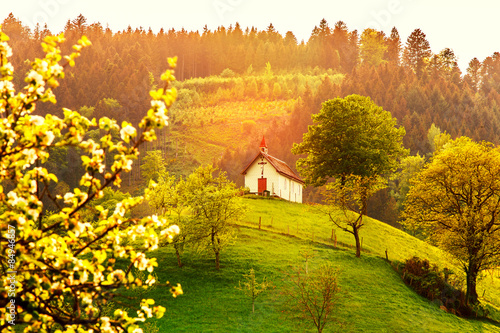 Beautiful Mountain Forest Landscape With Church At Sunset Germany