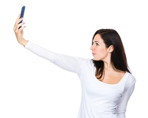 Woman talk selfie by mobile phone