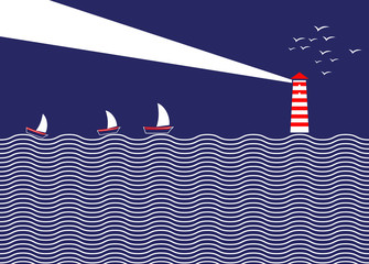 Simple illustration of lighthouse and ships. A lighthouse illuminates the sky at night. At sea, the ships sail guided by the lighthouse. Illustration of a beacon in the middle of the ocean.