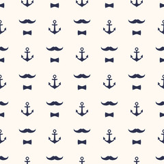 Anchor, Bow Tie and Mustache Seamless Pattern. Cute vector background. Baby style captains illustration.