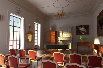 3d render of luxury manor interior - hall