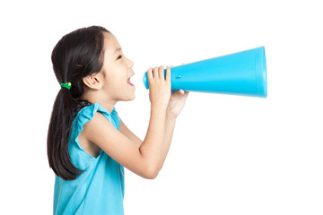 Little asian girl with megaphone