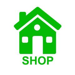 Icono casa y texto SHOP verde