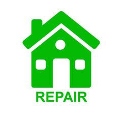 Icono casa y texto REPAIR verde