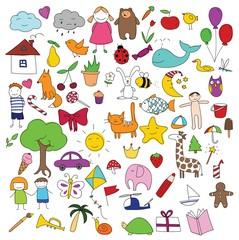 Childhood characters doodle vector set
