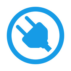 Icono redondo enchufe azul