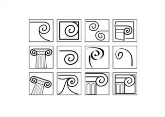 Capitals. A set of silhouettes of classic capitals.