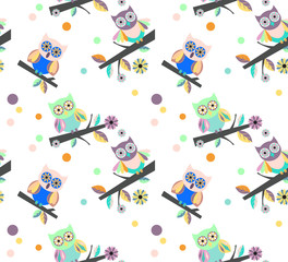 owls vector seamless pattern..