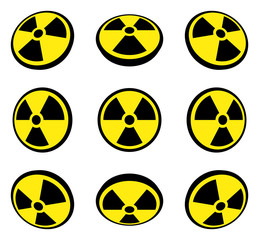 Radioactive symbol in different perspective views.