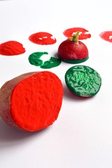 Vegetable Printing With Potato, Radish and Colored Paints