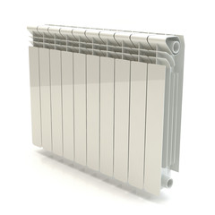 Heating radiator - white background