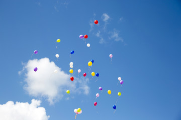 Flying colorful balls in the blue sky
