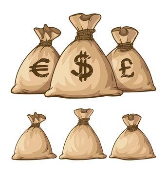 Cartoon full sacks with money. Eps10 vector illustration.