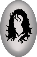 vector illustration of black hair on a grey background