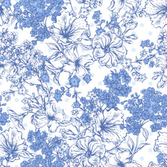 Blue Seamless Background with Spring and Summer Flowers