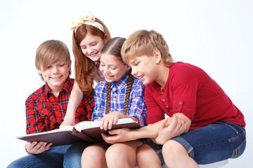 Nice children reading book