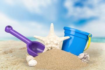 Beach, Bucket, Sand.