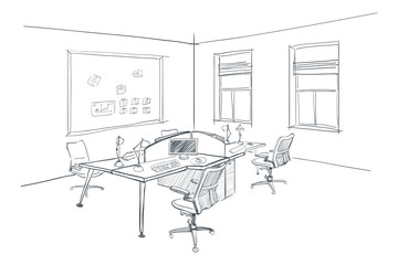 Modern interior sketch of open space office.