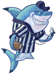 Mean Cartoon Referee Shark with Football and Whistle