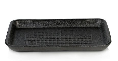 The black plastic tray white background.