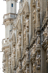 Detail of Town hall in Grand place, Brussels.