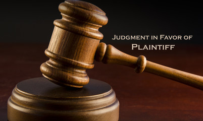 Judgment in favor of Plaintiff - Wooden Gavel