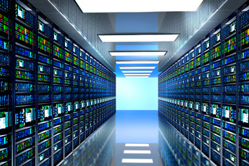 server room in datacenter, room equipped with data servers. LED lights flashing. 3D render