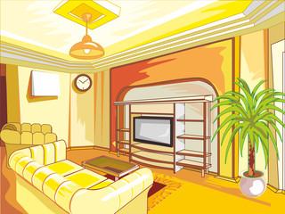 Cartoon drawing-room interior in shades of yellow.