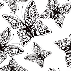 Beautiful seamless background of butterflies black and white