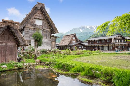 Historical Japanese Village - Shirakawago in spring, travel landmark of Japan