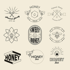 Honey logotypes, badges and labels set