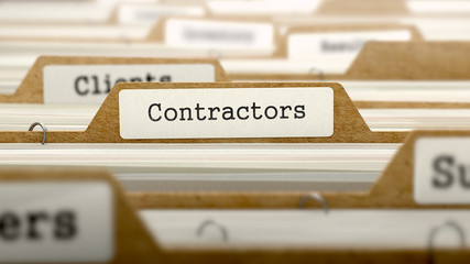 Contractors Concept with Word on Folder.