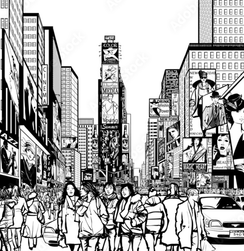 """Interpretation of Times Square in New York"" Stock image ..."