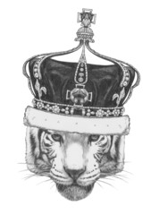 Original drawing of Tiger with crown. Isolated on white background