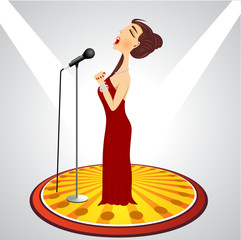 cartoon female singer with microphone