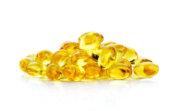 fish oil capsules isolated on the white background
