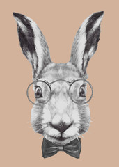Hand drawn portrait of Rabbit with glasses and bow tie. Vector isolated elements.
